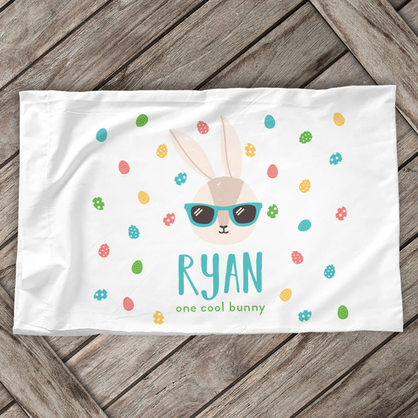 Easter one cool bunny boy personalized pillowcase / pillow