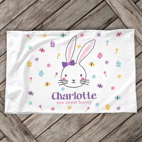 Easter one sweet bunny girl personalized pillowcase / pillow