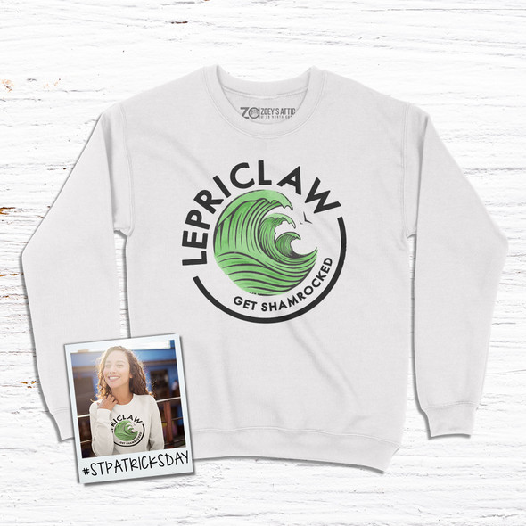 St. Patrick's Day funny lepriclaw get shamrocked adult crew neck sweatshirt