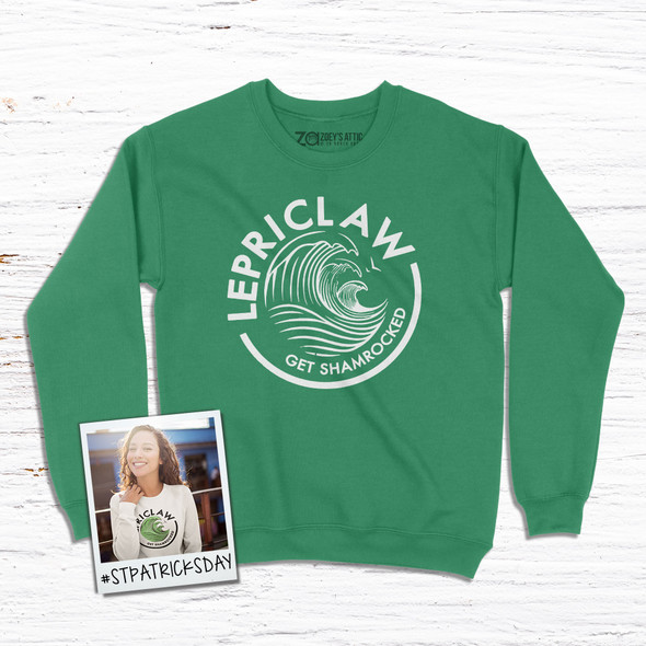 St. Patrick's Day funny lepriclaw get shamrocked adult crew neck DARK sweatshirt