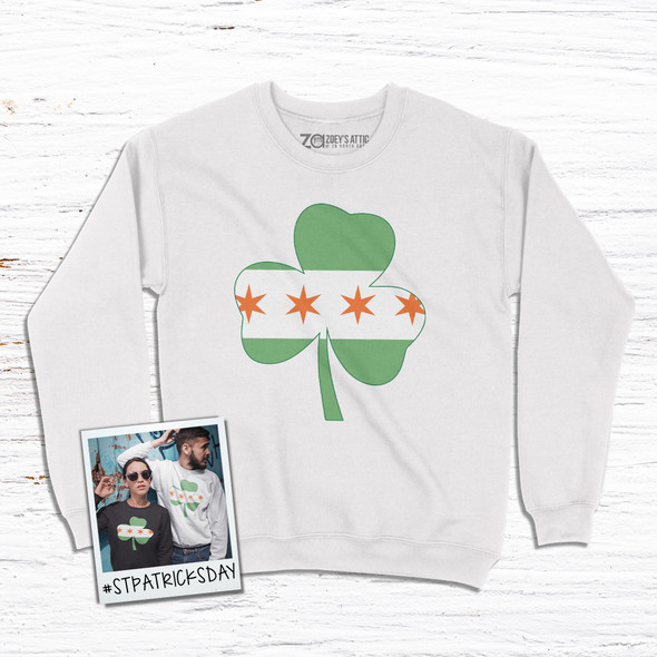 Irish Chicago flag shamrock adult crew neck sweatshirt