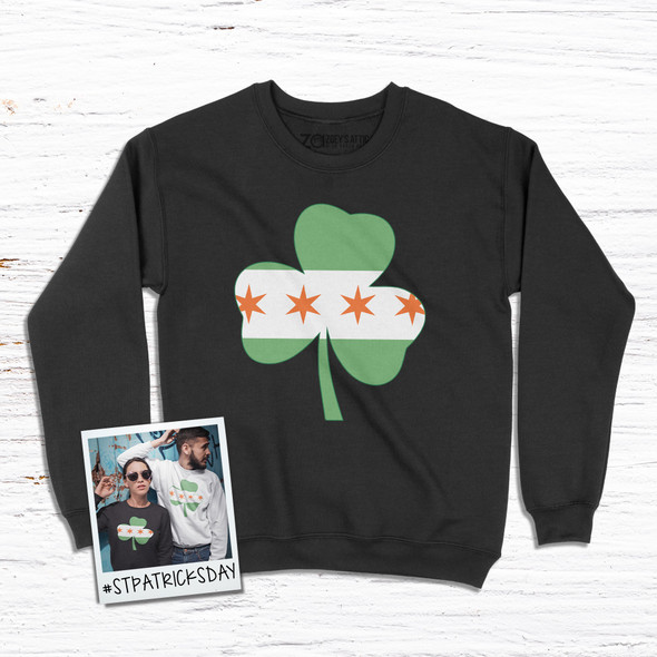 Irish Chicago flag shamrock adult crew neck DARK sweatshirt