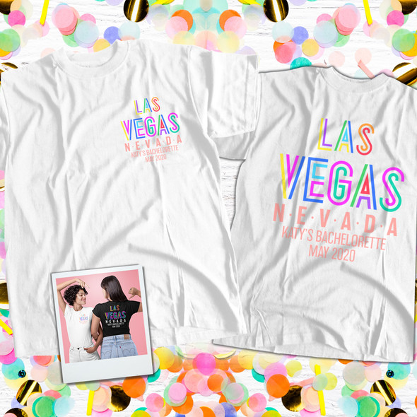 Bachelorette party las vegas personalized adult unisex or womens v-neck shirt