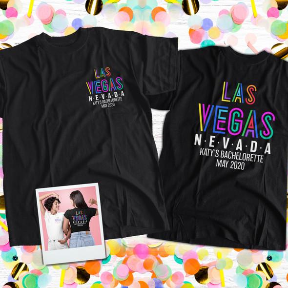 Bachelorette party las vegas personalized adult unisex or womens v-neck DARK shirt
