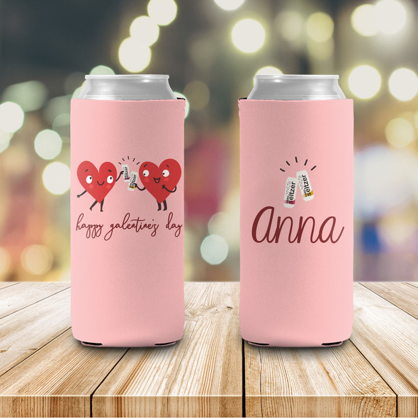 Galentine's Day heart girlfriends seltzer personalized can coolie