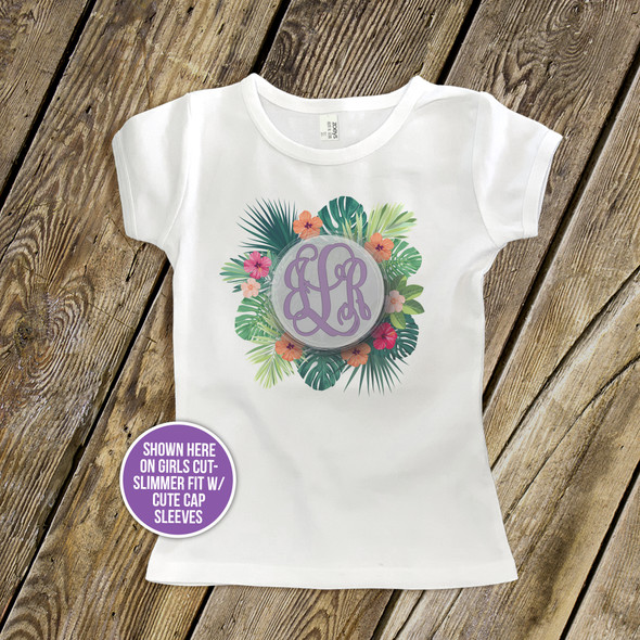 Girls monogram initials tropical palm flower wreath Tshirt