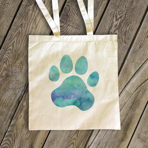 Watercolor paw print tote bag
