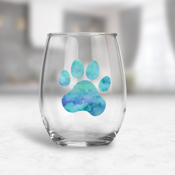 Watercolor paw print stemless red or white wine glass