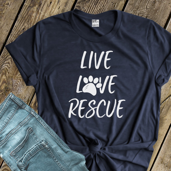 Live love rescue paw print adult unisex crew neck or women's v-neck DARK shirt