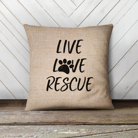 Live love rescue paw print pillowcase pillow