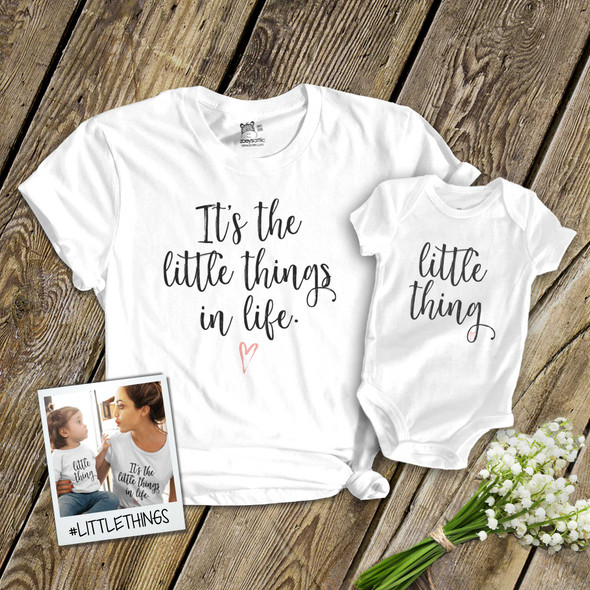 Mother's Day mommy baby little things matching shirt and bodysuit gift set