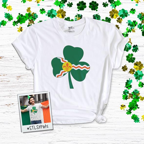 Saint Louis fleur de lis flag shamrock adult unisex Tshirt