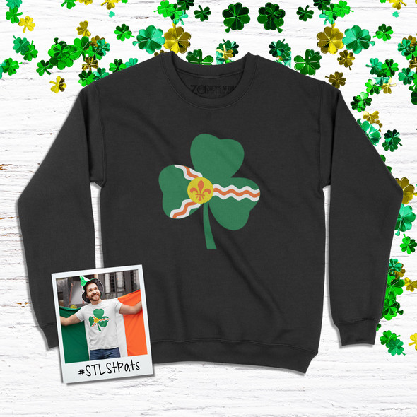 Saint Louis fleur de lis flag shamrock adult crew neck DARK sweatshirt