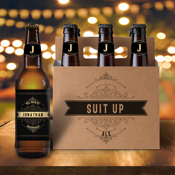 Suit up will you be my groomsman six pack beer holder with labels