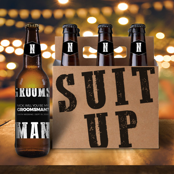 Will you be my groomsman suit up six pack beer holder with labels