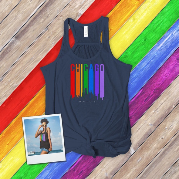 Chicago rainbow pride skyline DARK flowy tank top