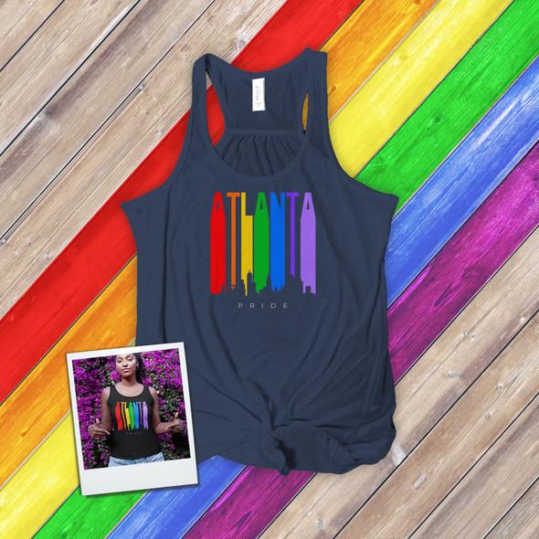 Atlanta rainbow pride skyline DARK flowy tank top