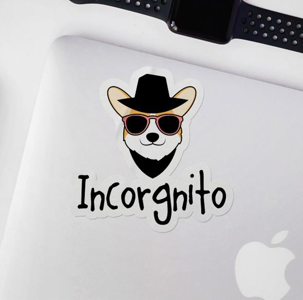 Funny incorgnito corgi vinyl sticker