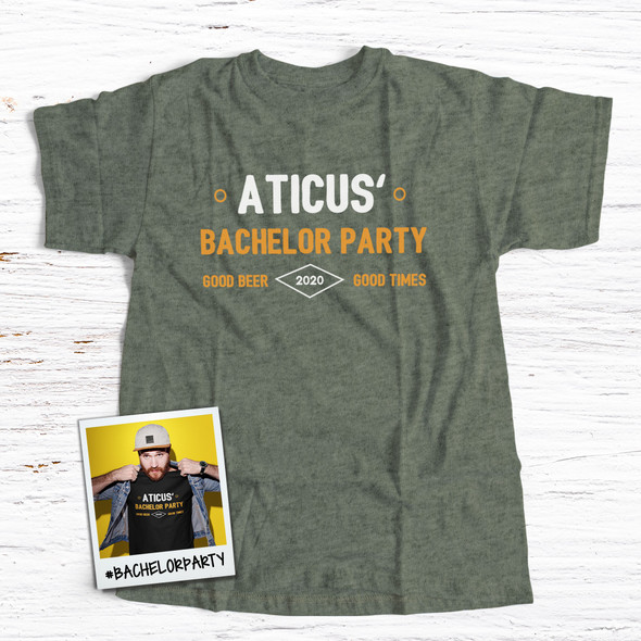 Bachelor party good beer good times personalized DARK Tshirt