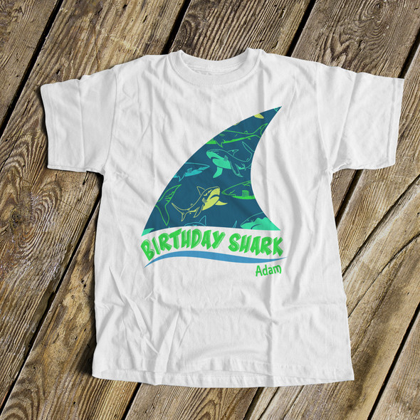 Birthday shark any age personalized Tshirt