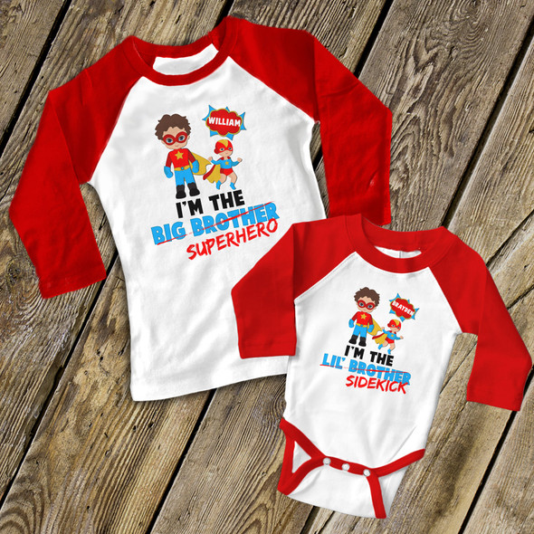 Comic book big brother or sister superhero li'l sidekick raglan sibling shirt set