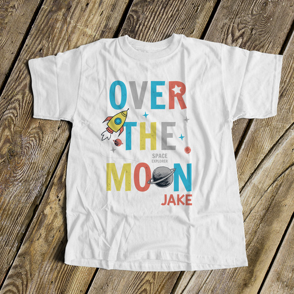 Spaceship rocket over the moon Tshirt