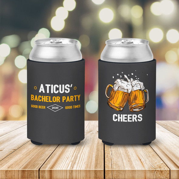 Bachelor party good beer good times personalized can coolies