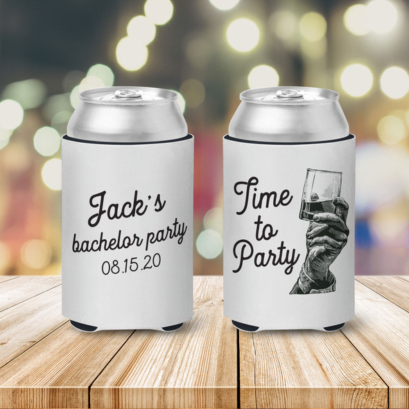 Bachelor party time to party personalized can coolies