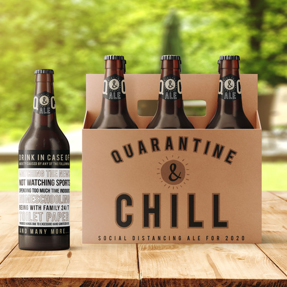 Quarantine and chill six pack beer holder with optional labels