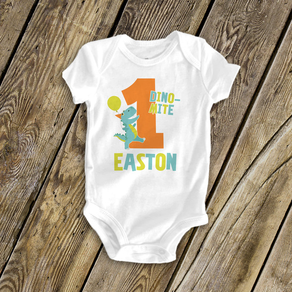 First birthday dino-mite personalized bodysuit or Tshirt