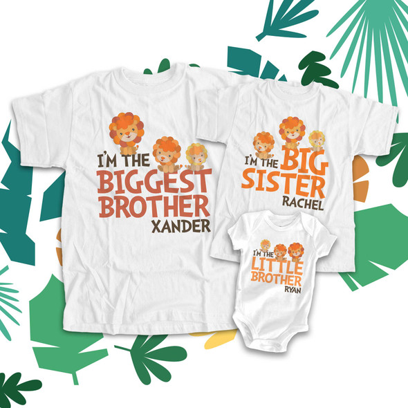 Biggest big and little brother or sister lion three sibling Tshirt set