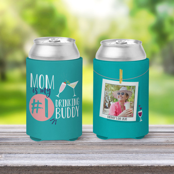 Mothers Day drinking buddy photo can coolie
