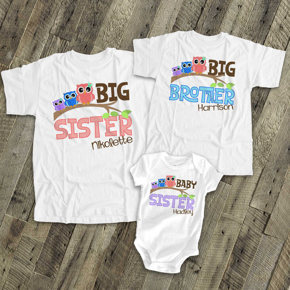 Big brother or sister owl three sibling Tshirt set