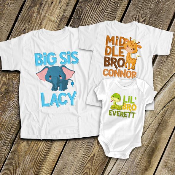 Brother or sister safari animals three sibling Tshirt set