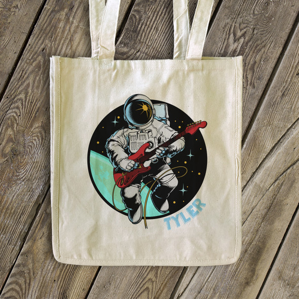 Astronaut guitar player personalized tote bag