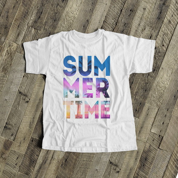 Summertime tropical beach blue text kids Tshirt