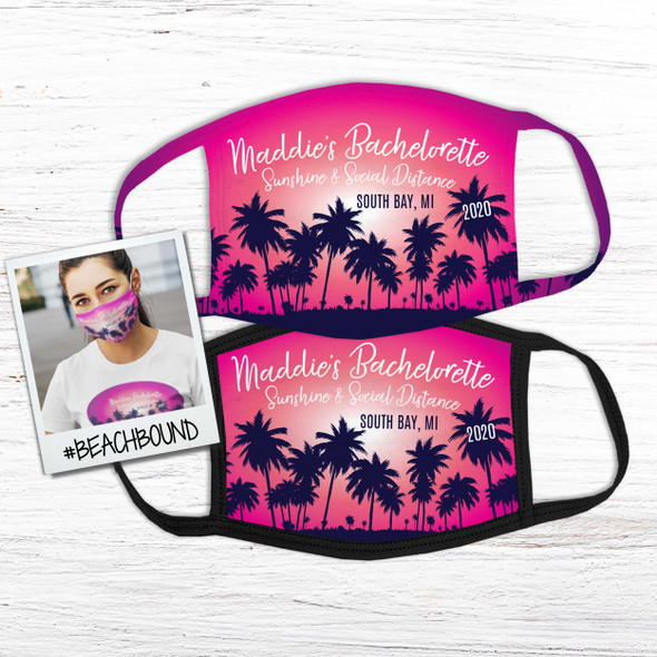 Bachelorette party beach palm trees personalized face mask