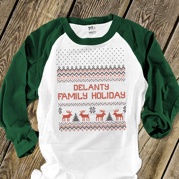 Family holiday faux cross stitch reindeer personalized unisex ADULT raglan shirt