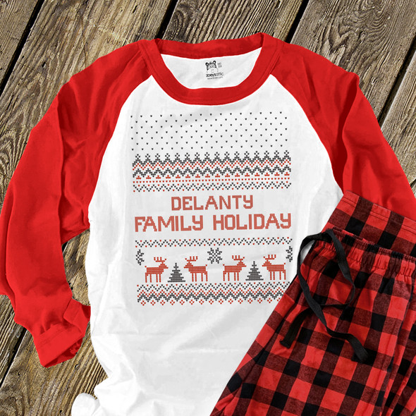 Family holiday faux cross stitch reindeer raglan shirt with pants option