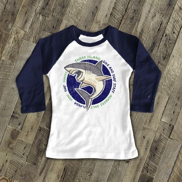 Summer shark island sand surf sharks personalized raglan shirt