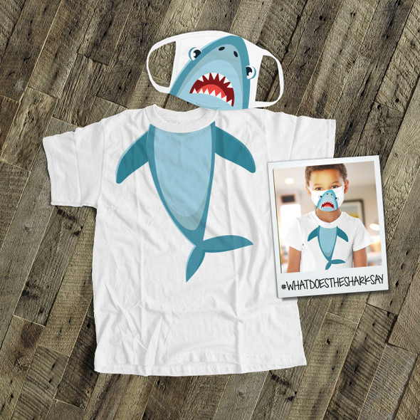 Shark kids face mask with optional matching Tshirt