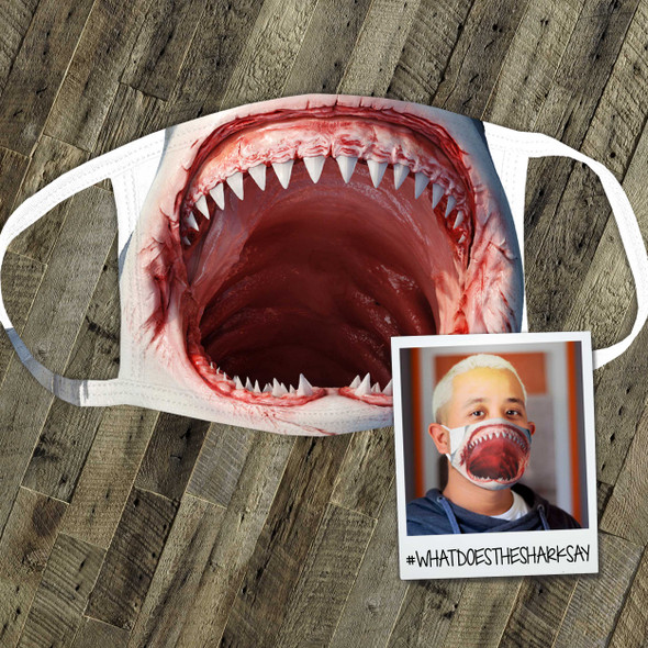 Funny shark face fabric face mask