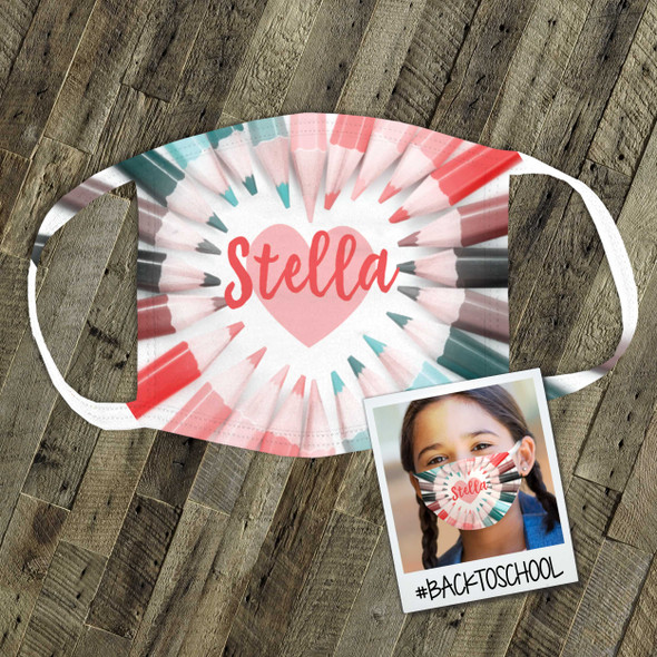 Girls back to school colorful pencil personalized fabric face mask