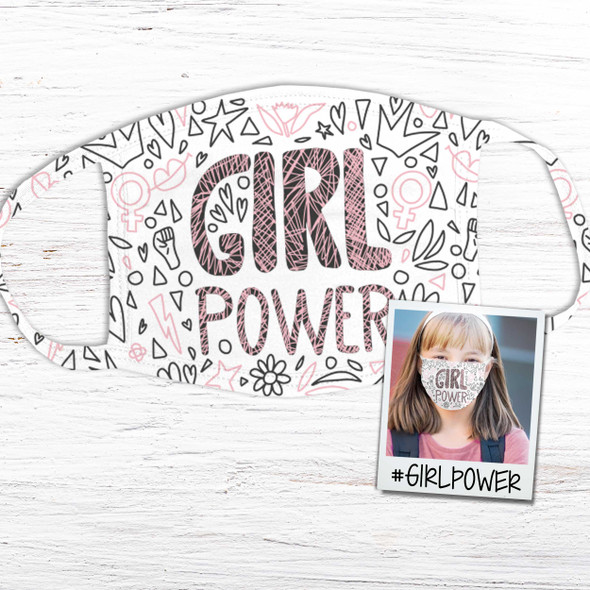 Girl power positive message fabric face mask