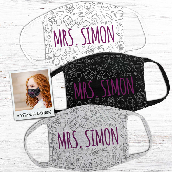 Teacher school theme personalized face mask