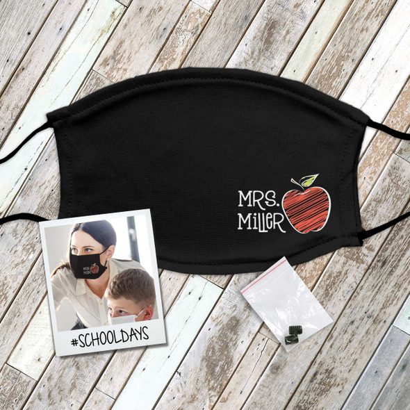 Teacher school apple personalized face mask