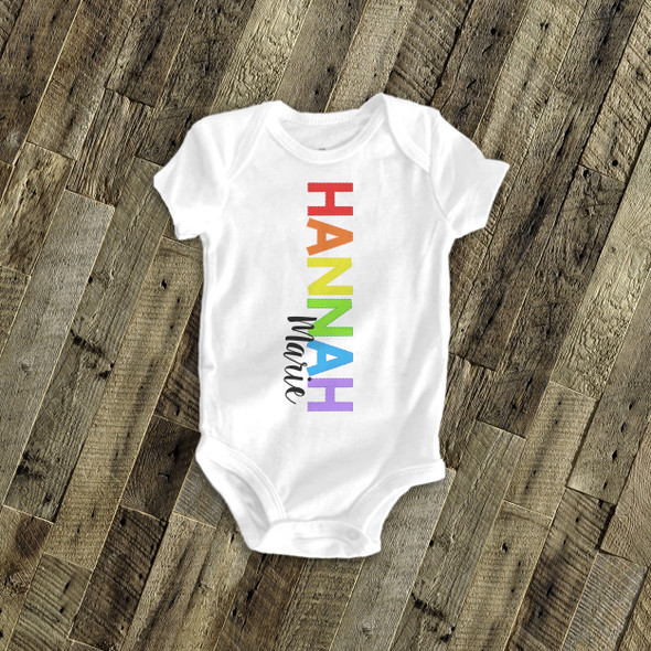 Rainbow vertical first name with middle name bodysuit or Tshirt