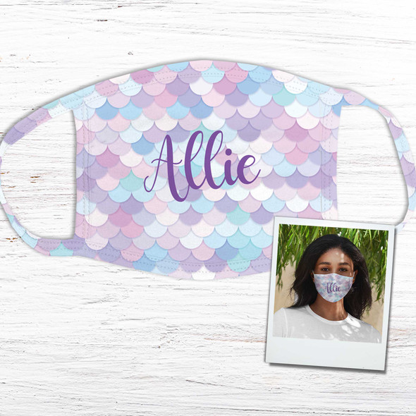 Mermaid scallop pattern personalized fabric face mask