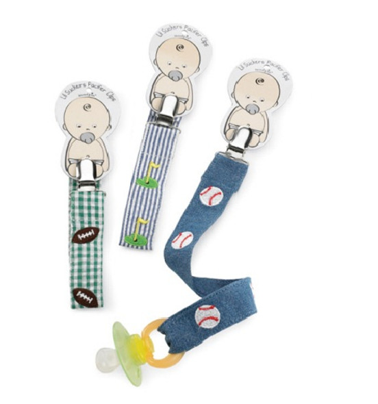 Sports embroidered pacifier clip - choose baseball, football or golf by Mud Pie