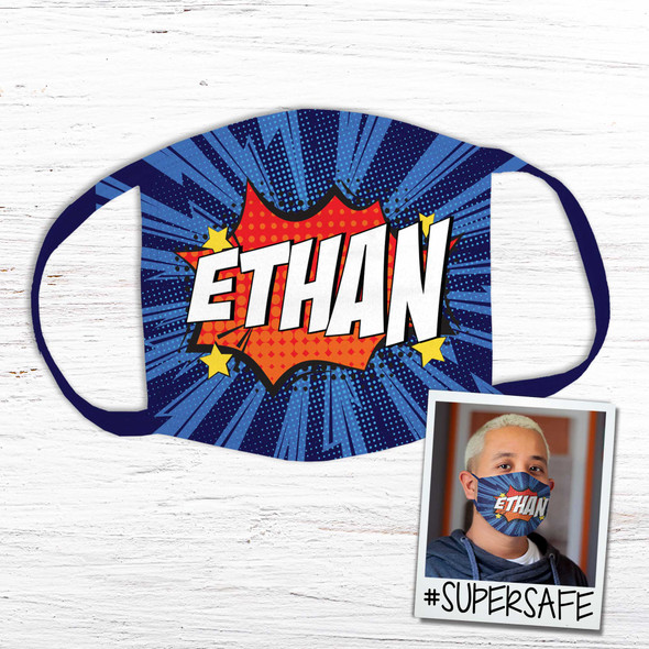 Comic book art personalized fabric face mask
